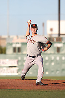 Jordan Johnson (46) of the San Jose Giants bats against the Lancaster JetHawks during the second game of a doubleheader at The Hanger on July 14, 2016 in Lancaster, California. Lancaster defeated San Jose, 3-0. (Larry Goren/Four Seam Images)