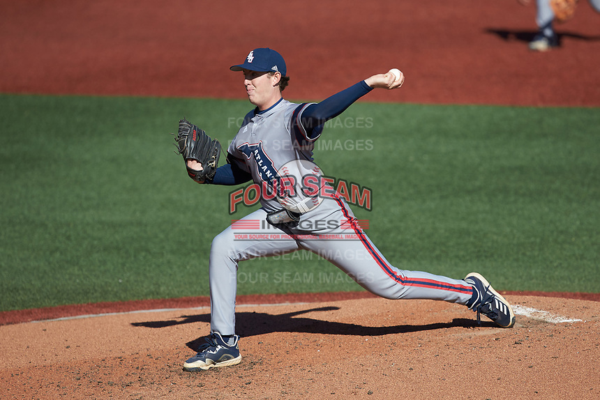 Florida Atlantic Owls starting pitcher Hunter Cooley (18) in action against the Charlotte 49ers at Hayes Stadium on April 2, 2021 in Charlotte, North Carolina. The 49ers defeated the Owls 9-5. (Brian Westerholt/Four Seam Images)