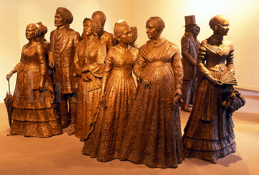 Seneca Falls, NY, New York, Finger Lakes, A statue of the women's movement is displayed at the Women's Rights National Historical Park Visitor Center in Seneca Falls. The birthplace of the women's rights movement.