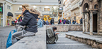 Pictured: A beggar.<br /> Re: Street photography, Athens, Greece. Thursday 27 February 2020