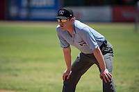 Field umpire Darius Ghani during a California League game between the Stockton Ports and the Visalia Rawhide at Visalia Recreation Ballpark on May 9, 2018 in Visalia, California. Stockton defeated Visalia 4-2. (Zachary Lucy/Four Seam Images)