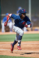Cleveland Indians Gabriel Mejia (1) during an Instructional League game against the Los Angeles Dodgers on October 10, 2016 at the Camelback Ranch Complex in Glendale, Arizona.  (Mike Janes/Four Seam Images)