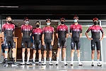 Team Ineos at sign on before Stage 3 of the Route d'Occitanie 2020, running 163.5km from Saint-Gaudens to Col de Beyrède, France. 3rd August 2020. <br /> Picture: Colin Flockton | Cyclefile<br /> <br /> All photos usage must carry mandatory copyright credit (© Cyclefile | Colin Flockton)