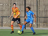 Joy Brankaer (2) of Yellow Red KV Mechelen  and  xxx in action during soccer game between Yellow Red KV Mechelen Women and KRC Genk during Belgian Women's National Division 1 match  on day 2 of 2021-2022 season, on Saturday 4th of September  2021 in Mechelen , Belgium . PHOTO SEVIL OKTEM | SPORTPIX