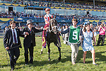 TORONTO, ON - JULY 03:   Sir Dudley Digges, #5, with jockey  Julien Leparoux   in the winner's circle after running  to victory at Queen's Plate Day at Woodbine Race Course on July 3, 2016 in Toronto, Ontario. (Photo by Victor Biro/Eclipse Sportswire/Getty Images)