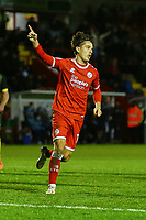 Tom Nichols of Crawley Town scores the third goal for his team from a penalty and celebrates during Crawley Town vs Barrow, Sky Bet EFL League 2 Football at Broadfield Stadium on 12th December 2020