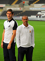 Pictured: Wayne Routledge and Danny Graham<br /> Re: Swansea City FC squad photo-shoot at the Liberty Stadium, south Wales.