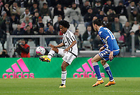 Calcio, Serie A: Juventus vs Sassuolo. Torino, Juventus Stadium, 11 marzo 2016.<br /> Juventus' Juan Cuadrado, left, is challenged by Sassuolo's Federico Peluso during the Italian Serie A football match between Juventus vs Sassuolo, at Turin's Juventus Stadium, 11 March 2016.<br /> UPDATE IMAGES PRESS/Isabella Bonotto