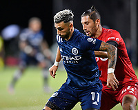 LAKE BUENA VISTA, FL - JULY 26: Valentín Castellanos of New York City FC is closely marked by Omar González of Toronto FC during a game between New York City FC and Toronto FC at ESPN Wide World of Sports on July 26, 2020 in Lake Buena Vista, Florida.
