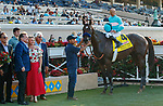 DEL MAR, CA  SEPTEMBER 6: #4 Pinehurst, ridden by Mike Smith, and the connections in the winners circle after winning the Runhappy Del Mar Futurity (Grade 1) on September 6, 2021 at Del Mar Thoroughbred Club in Del Mar, CA. (Photo by Casey Phillips/Eclipse Sportswire/CSM)