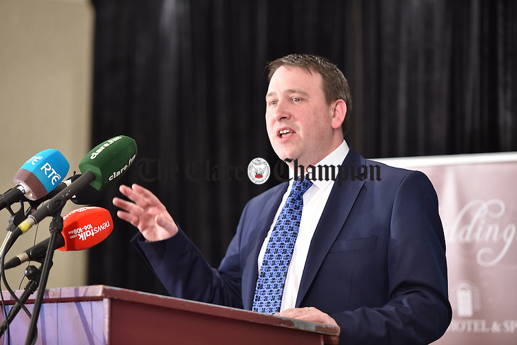 Joe Carey, Fine Gael, making his acceptance speech at theGE2016 count in Ennistymon. Photograph by John Kelly.