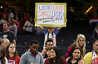 New Orleans, LA - Thursday October 19, 2017: USA fans, Carli Lloyd during an International friendly match between the Women's National teams of the United States (USA) and South Korea (KOR) at Mercedes Benz Superdome.