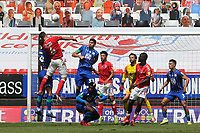 Jason Pearce of Charlton heads the ball just over the Wigan goal during Charlton Athletic vs Wigan Athletic, Sky Bet EFL Championship Football at The Valley on 18th July 2020