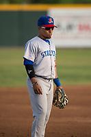 Stockton Ports third baseman Melvin Mercedes (37) during a California League game against the Visalia Rawhide at Visalia Recreation Ballpark on May 8, 2018 in Visalia, California. Stockton defeated Visalia 6-2. (Zachary Lucy/Four Seam Images)
