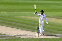 Daniel Ibrahim raises his bat to celebrate scoring a half century during Sussex CCC vs Glamorgan CCC, LV Insurance County Championship Group 3 Cricket at The 1st Central County Ground on 5th July 2021