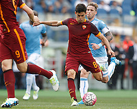 Calcio, Serie A: Lazio vs Roma. Roma, stadio Olimpico, 3 aprile 2016.<br /> Roma's Diego Perotti kicks to score during the Italian Serie A football match between Lazio and Roma at Rome's Olympic stadium, 3 April 2016.<br /> UPDATE IMAGES PRESS/Riccardo De Luca