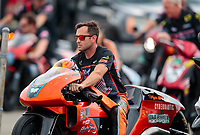 Aug 31, 2019; Clermont, IN, USA; NHRA pro stock motorcycle rider Ryan Oehler during qualifying for the US Nationals at Lucas Oil Raceway. Mandatory Credit: Mark J. Rebilas-USA TODAY Sports