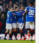 27.02.2019 Rangers v Dundee: James Tavernier celebrates with Borna Barisic