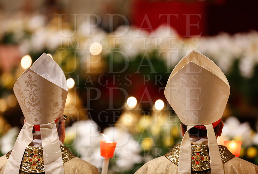 Cardinals attend the Easter vigil ceremony celebrated by Pope Francis in St. Peter's Basilica at the Vatican, April 20, 2019.<br /> UPDATE IMAGES PRESS/Riccardo De Luca<br /> <br /> STRICTLY ONLY FOR EDITORIAL USE