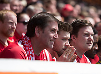 Forest fans showing their nerves as news of results elsewhere puts Forest into the last relegation spot during the Sky Bet Championship match between Nottingham Forest and Ipswich Town at the City Ground, Nottingham, England on 7 May 2017. Photo by James Williamson / PRiME Media Images.