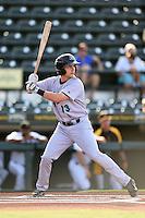 Jupiter Hammerheads shortstop Justin Bohn (13) at bat during a game against the Bradenton Marauders on June 25, 2014 at McKechnie Field in Bradenton, Florida.  Bradenton defeated Jupiter 11-0.  (Mike Janes/Four Seam Images)