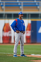 South Bend Cubs manager Jimmy Gonzalez (44) during the first game of a doubleheader against the Lake County Captains on May 16, 2018 at Classic Park in Eastlake, Ohio.  South Bend defeated Lake County 6-4 in twelve innings.  (Mike Janes/Four Seam Images)