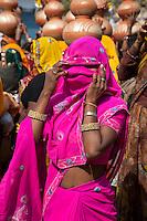 Rajasthan, India.  Rajasthani Woman at  a Pre-wedding Celebration.