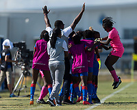 Bradenton, FL - Sunday, June 10, 2018: Haiti, goal celebration during a U-17 Women's Championship match between the United States and Haiti at IMG Academy.  USA defeated Haiti 3-2 to advance to the finals.
