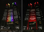 """June 2, 2020, Tokyo, Japan - This combo picture shows the Tokyo City Hall lit up from rainbow colors to red color for the """"Tokyo alert"""" in Tokyo on Tuesday, June 2, 2020. Tokyo Metropolitan government confirmed 34 people became infected with the new coronavirus on the day and Governor Yuriko Koike warned the """"Tokyo alert"""" for Tokyo residents.     (Photo by Yoshio Tsunoda/AFLO)"""