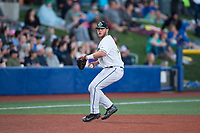 Hillsboro Hops third baseman Ryan Tufts (35) prepares to make a throw to first base during a Northwest League game against the Salem-Keizer Volcanoes at Ron Tonkin Field on September 1, 2018 in Hillsboro, Oregon. The Salem-Keizer Volcanoes defeated the Hillsboro Hops by a score of 3-1. (Zachary Lucy/Four Seam Images)