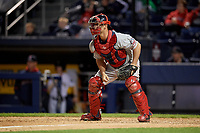 Pawtucket Red Sox catcher Dan Butler (12) waits for a throw during a game against the Scranton/Wilkes-Barre RailRiders on May 15, 2017 at PNC Field in Moosic, Pennsylvania.  Scranton defeated Pawtucket 8-4.  (Mike Janes/Four Seam Images)