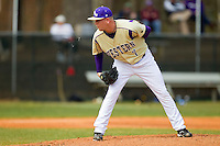 Western Carolina Catamounts starting pitcher Morgan McKinney (7) looks to his catcher for the sign against the Davidson Wildcats at Wilson Field on March 10, 2013 in Davidson, North Carolina.  The Catamounts defeated the Wildcats 5-2.  (Brian Westerholt/Four Seam Images)