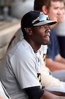 Trenton Thunder outfielder Deangelo Mack #9 during a game against the Akron Aeros at Canal Park on July 26, 2011 in Akron, Ohio.  Trenton defeated Akron 4-3.  (Mike Janes/Four Seam Images)