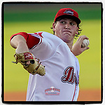 Starter Jay Groome (28) delivers the first pitch of the 2021 season and the first in 612 days for the Greenville Drive in a game against the Bowling Green Hot Rods on Wednesday, May 5, 2021, at Fluor Field at the West End in Greenville, South Carolina. Bowling Green won, 9-2. (Tom Priddy/Four Seam Images)