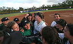 The Rancho Rams celebrate a 12-0 win in five innings over Reed to advance to the championship game in NIAA DI softball action at the University of Nevada, in Reno, Nev., on Friday, May 20, 2016. Cathleen Allison/Las Vegas Review-Journal