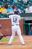 Corey Seager (12) of the Chattanooga Lookouts at bat against the Montgomery Biscuits at AT&T Field on July 23, 2014 in Chattanooga, Tennessee.  The Lookouts defeated the Biscuits 6-5. (Brian Westerholt/Four Seam Images)