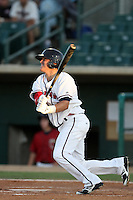 Enrique Hernandez #7 of the Lancaster JetHawks bats against the Modesto Nuts at Clear Channel Stadium on June 26, 2012 in Lancaster, California. Lancaster defeated Modesto 15-9. (Larry Goren/Four Seam Images)