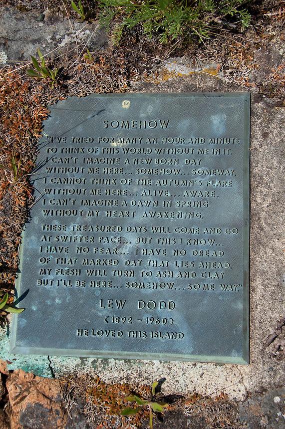Lew Dodd Grave Site and Plaque, Yellow Island, San Juan Islands, Washington, US