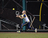 Michigan Wolverines Softball outfielder Kelly Christner (21) catches a fly ball during a game against the University of South Florida Bulls on February 8, 2014 at the USF Softball Stadium in Tampa, Florida.  Michigan defeated USF 3-2.  (Copyright Mike Janes Photography)