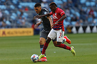 SAINT PAUL, MN - MAY 15: Michael Boxall #15 of Minnesota United FC and Jader Obrian #7 of FC Dallas battle for the ball during a game between FC Dallas and Minnesota United FC at Allianz Field on May 15, 2021 in Saint Paul, Minnesota.