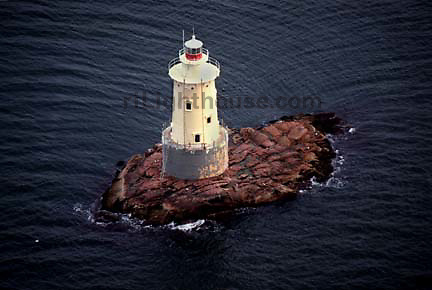 An aerial view of the Sakonnet Point Lighthouse