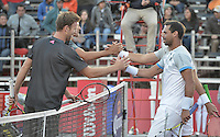 BOGOTA -COLOMBIA. 22-07-2015. Mate Pavic (CRO) y Michael Venus (NZL) se saludan al final del juego de dobles contra Alejandro Falla (COL)  y Alejandro Gomez (COL) de primera ronda del ATP Claro Open Colombia 2015 jugado en el Centro de Alto Rendimiento en Bogota./ Mate Pavic (CRO) and Michael Venus (NZL) shake hands after the doubles match against Alejandro Falla (COL) and Alejandro Gomez (COL) for the first round of ATP Claro Open Colombia 2015 played at Centro de Alto Rendimiento in Bogota city. Photo: VizzorImage/ Gabriel Aponte / Staff