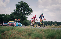 breakaway group taking more then 7 minutes: Guillaume Van Keirsbulck (BEL/Wanty-Groupe Gobert), Dimitri Claeys (BEL/Cofidis), Jérôme Cousin (FRA/Direct Energie) & Anthony Perez (FRA/Cofidis)<br /> <br /> Stage 4: La Baule > Sarzeau (192km)<br /> <br /> 105th Tour de France 2018<br /> ©kramon