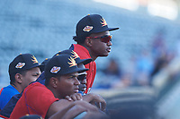 Mesa Solar Sox outfielder Victor Robles (14), of the Washington Nationals organization, watches the action on the field with his teammates during an Arizona Fall League game against the Glendale Desert Dogs on October 28, 2017 at Sloan Park in Mesa, Arizona. The Solar Sox defeated the Desert Dogs 9-6. (Zachary Lucy/Four Seam Images)