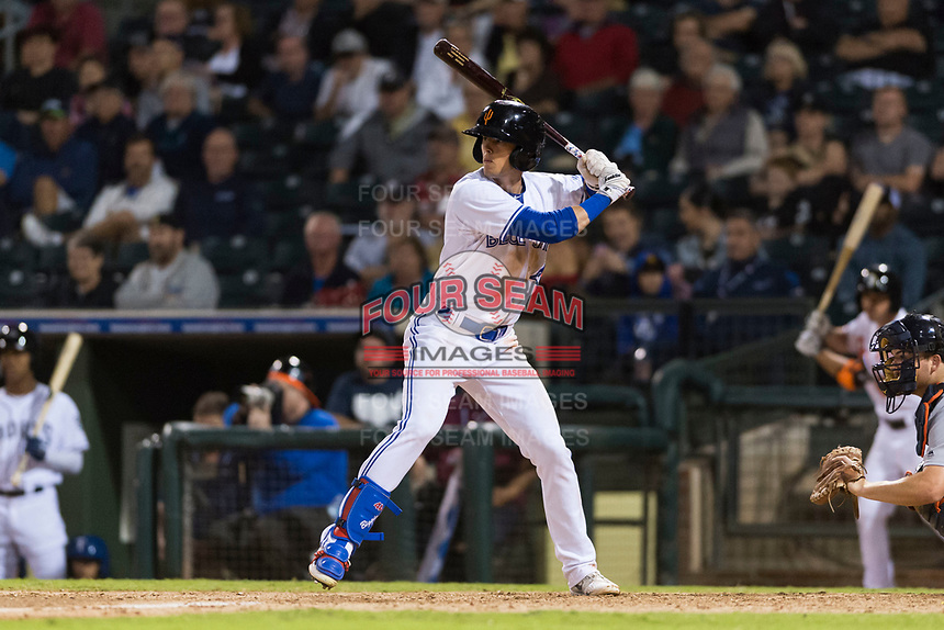 AFL West left fielder Cavan Biggio (26), of the Surprise Saguaros and Toronto Blue Jays organization, at bat during the Arizona Fall League Fall Stars game at Surprise Stadium on November 3, 2018 in Surprise, Arizona. The AFL West defeated the AFL East 7-6 . (Zachary Lucy/Four Seam Images)