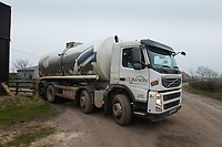 3-3-2021 Ruth Grice, W J & J E Grice, Old Dalby, Melton Mowbray <br /> A Long Clawson milk tanker collecting milk for use in Stilton cheese <br /> ©Tim Scrivener Photographer 07850 303986<br />      ....Covering Agriculture In The UK....