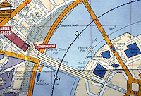 London: Map Detail--South Bank Arts Complex, and Charing Cross.