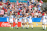 Cary, NC - Sunday October 22, 2017: Christen Press celebrates her goal during an International friendly match between the Women's National teams of the United States (USA) and South Korea (KOR) at Sahlen's Stadium at WakeMed Soccer Park. The U.S. won the game 6-0.