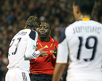 David Beckham (23) of the Los Angeles Galaxy argues with referee Abiodun Okulaja during an MLS match against D.C. United at RFK Stadium, on April 9 2011, in Washington D.C. The game ended in a 1-1 tie.
