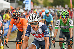 Richie Porte (AUS) Trek-Segafredo crosses the finish line at the end of Stage 2 of the Route d'Occitanie 2020, running 174.5km from Carcassone to Cap Découverte, France. 2nd August 2020. <br /> Picture: Colin Flockton | Cyclefile<br /> <br /> All photos usage must carry mandatory copyright credit (© Cyclefile | Colin Flockton)